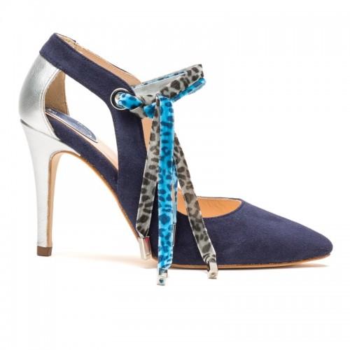 Zapato abotinado Tina azul Print